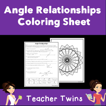 Angle Relationship Practice Coloring Sheet CCS 7.G.5