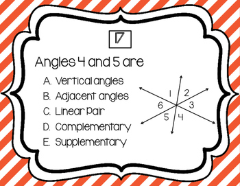 Angle Relationship Task Cards
