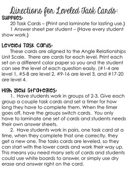 Angle Relationship Task Cards Activity 8.G.1.5 Go Math