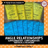 Angle Relationships Bookmark Notes