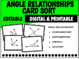 Angle Relationships Card Sort   Distance Learning