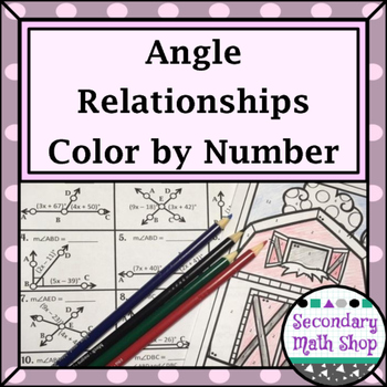 Angle Relationships Color-By-Number  Worksheet