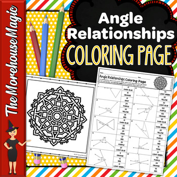 ANGLE RELATIONSHIPS MATH COLOR BY NUMBER, QUIZ