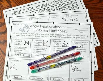 Angle Relationships Coloring Worksheet
