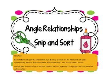 Angle Relationships Snip and Sort