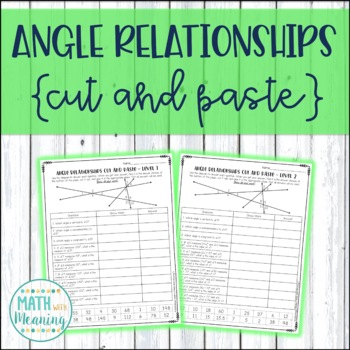 Angle Relationships Cut and Paste Worksheet - CCSS 7.G.B.5