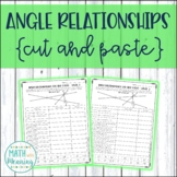 Angle Relationships Cut and Paste - Complementary, Supplementary, Vertical Angle