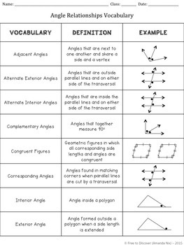 Angle Relationships Discovery Worksheets by Free to Discover | TpT