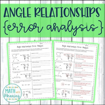 Angle Relationships Error Analysis - CCSS 7.G.B.5 Aligned ...