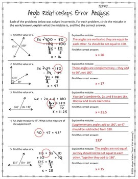 Angle Relationships Error Analysis Ccss 7 G B 5 Aligned By Math Angle Relationships Worksheet Answers Angle Relationships Error Analysis Ccss 7 G B 5 Aligned