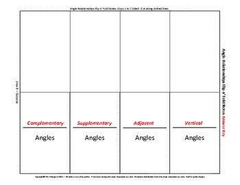 Angle Relationships Flip n' Fold Notes
