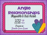 Angle Relationships Flippable (Foldable) and Exit Ticket