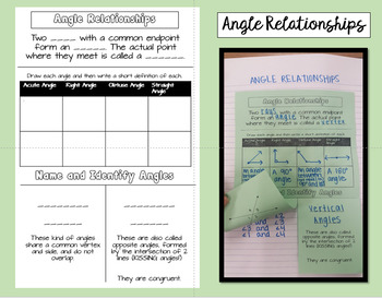 Angle Relationships Foldable - Adjacent, Vertical