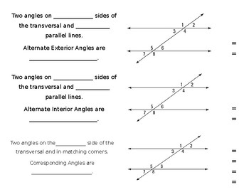 Angle Relationships Foldable - Parallel Lines Cut by Transversal