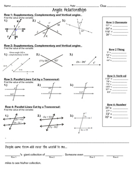 Angle Relationships ~ Fun Activity