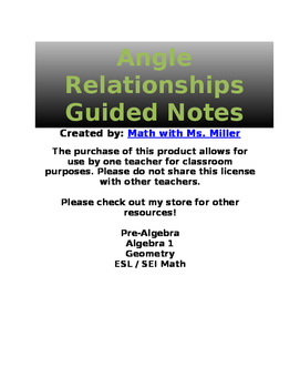 Angle Relationships Guided Notes