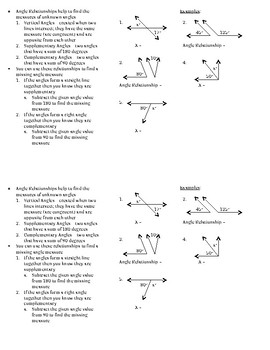 Angle Relationships ISN Notes