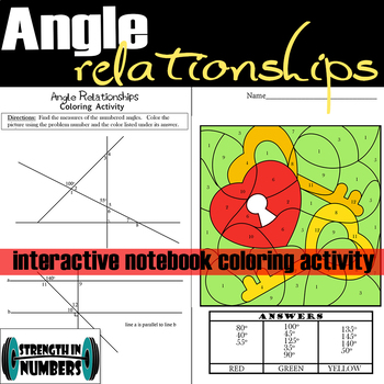 Angle Relationships Interactive Notebook Valentine's Day Coloring Activity