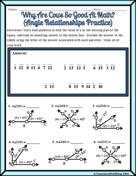Angle Relationships Linear Pair Vertical Complementary