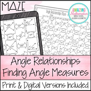 Angle Relationships Maze Worksheet - Finding Angle Measures