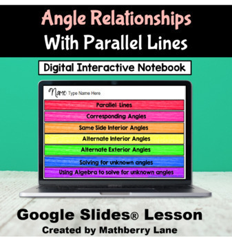 Angle Relationships Parallel Lines Digital Interactive Fli