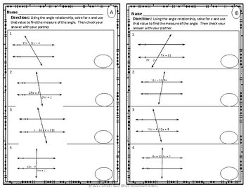 Angle Relationships Partner Practice