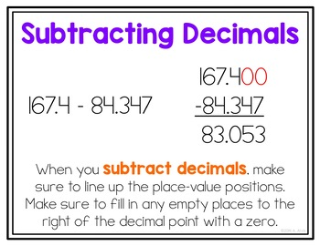 Decimal Operations Posters and Interactive Notebook INB Set
