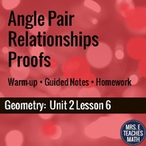 Angle Pair Relationships Proofs Lesson
