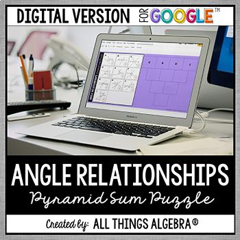 Angle Relationships Pyramid Sum Puzzle - GOOGLE SLIDES VERSION