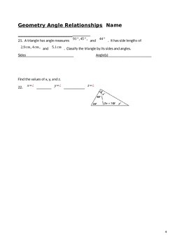 Angle Relationships Quiz