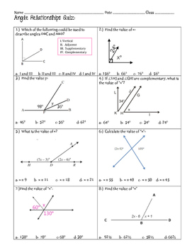 Angle Relationships Quiz or Review