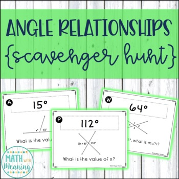Angle Relationships Scavenger Hunt Activity - Common Core