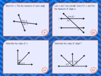 Parallel Lines and Angle Relationships Task Cards (Scoot!)