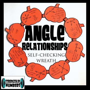 Angle Relationships Activity Fall Pumpkin Wreath Self Checking (Halloween)