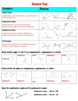 Angle Relationships:  Supplementary, Complementary, and Vertical