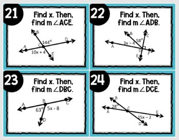 Angle Relationships (Task Cards)