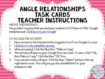 Angle Relationships Task Cards with QR Codes GOOGLE Slide Version
