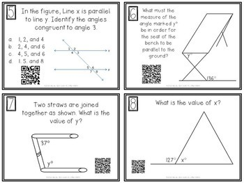 Angle Relationships Task Cards with QR Codes