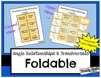 Angle Relationships & Transversals Foldable