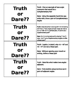 Angle Relationships Truth or Dare Activity