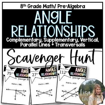 Angle Relationships (Using Algebra)- Scavenger Hunt