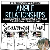 Angle Relationships (Using Algebra)- Scavenger Hunt