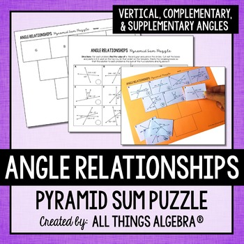 Angle Relationships Pyramid Sum Puzzle