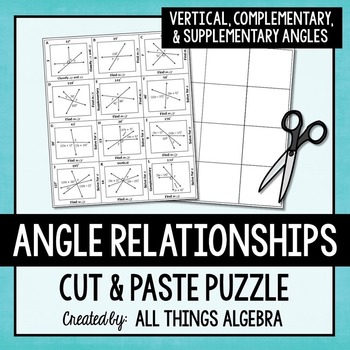 Angle Relationships (Vertical, Complementary, & Supplementary) Puzzle