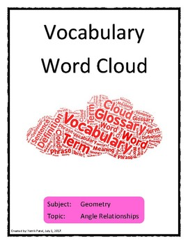 Angle Relationships Vocabulary Word Cloud Word Bank Handout Geometry