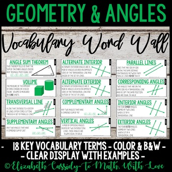 Angle Relationships-Word Wall-Vocabulary-Upper Elementary CCSS