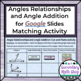 Angle Relationships and Angle Addition GOOGLE DRIVE Solve
