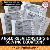 Angle Relationships & Solving Equations Cut and Paste Activity