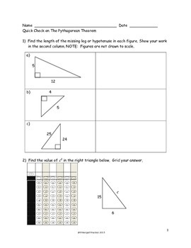 Angle Relationships and The Pythagorean Theorem Quick Checks