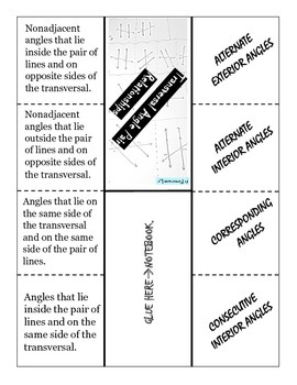 Parallel and transversal - Foldable Notes
